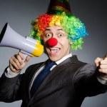 Clown with loudspeaker — Stock Photo #49724743