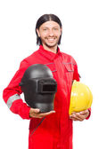 Welder in red overalls — Photo