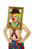 Clown with picture frame — Stockfoto