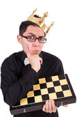 Funny chess player in crown — Stock Photo