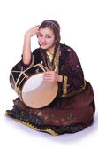 Azeri woman playing traditional drum nagara — Photo