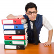 Man with lots of folders — Stock Photo #50179931