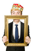 King with picture frame — Stock Photo