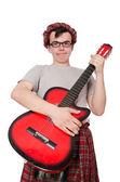 Scotsman playing guitar — 图库照片