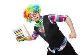 Clown accountant — Stock Photo