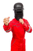 Welder in red overalls — Foto Stock
