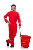 Man in red coveralls  shopping — Stock Photo