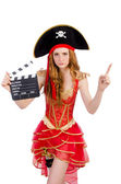 Pirate with movie board — ストック写真
