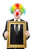 Clown with frame — Stock Photo