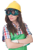 Woman wearing goggles — Stockfoto
