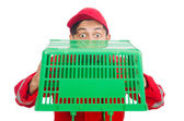 Man with shopping basket — Stock Photo