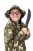 Funny soldier with knife on white — Stock Photo