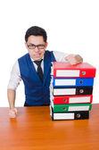 Zabawny człowiek z dużą ilością foldery na biały — Zdjęcie stockowe