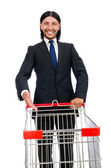 Man shopping with supermarket basket cart isolated on white — Foto de Stock