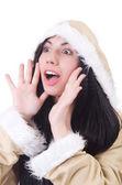 Woman eskimo isolated on white — Stock Photo
