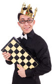 Funny chess player isolated on white — Stock Photo