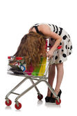 Woman after shopping in the supermarket isolated on white — Stock Photo