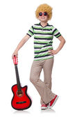 Man with afro wig with guitar on white — Stock Photo