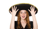 Funny mexican with sombrero hat — Stok fotoğraf