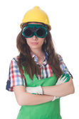 Woman wearing goggles in safety concept — Stock Photo