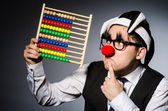 Funny clown with abacus in accounting concept — Foto Stock