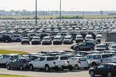 New cars parked at distribution center — Zdjęcie stockowe