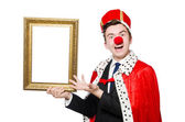Funny businessman with clown nose — Stock Photo