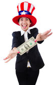 Young woman with dollar and usa hat — Stock Photo
