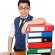 Funny man with lots of folders on white — Stock Photo #51232803