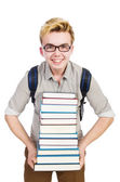 Funny student with stack of books — Stock Photo