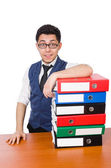 Funny man with lots of folders on white — Stock Photo