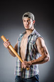 Violent man with baseball bat and hat — Stock Photo