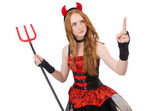 Woman devil with trident on white — Stock Photo