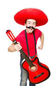 Mexican guitar player isolated on the white — Stock Photo