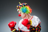 Funny clown with box gloves — Stock Photo