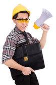 Construction supervisor shouting at megaphone — Stock Photo