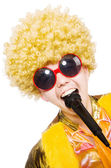 Man with afrocut and mic isolated on white — Stock Photo