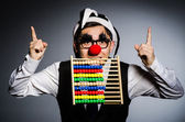 Funny clown with abacus in accounting concept — Stock Photo