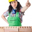 Woman builder isolated on the white — Stock Photo #51328249