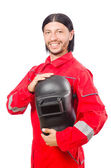 Welder in red overalls isolated on white — Stockfoto