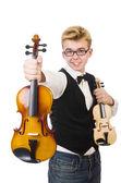 滑稽的人用上白色的小提琴 — 图库照片