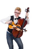Funny man with violin on white — Stock Photo