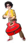 吉他上白色隔离的男人 — 图库照片