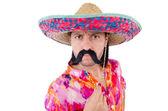Divertente messicano con cappello sombrero — Foto Stock
