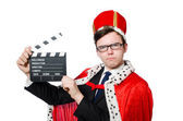 Man with movie clapboard isolated on white — Stock Photo