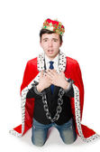 Concept of king businessman with crown — Стоковое фото