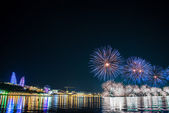 Fireworks in Baku Azerbaijan on Independence day — Stock Photo