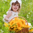 Little girl with a basket with sunflowers — Stock Photo