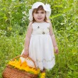 Little girl with a basket with sunflowers — Stock Photo #12757934