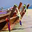 Tropical beach, longtail boats, Andaman Sea, Thailand — Stock Photo
